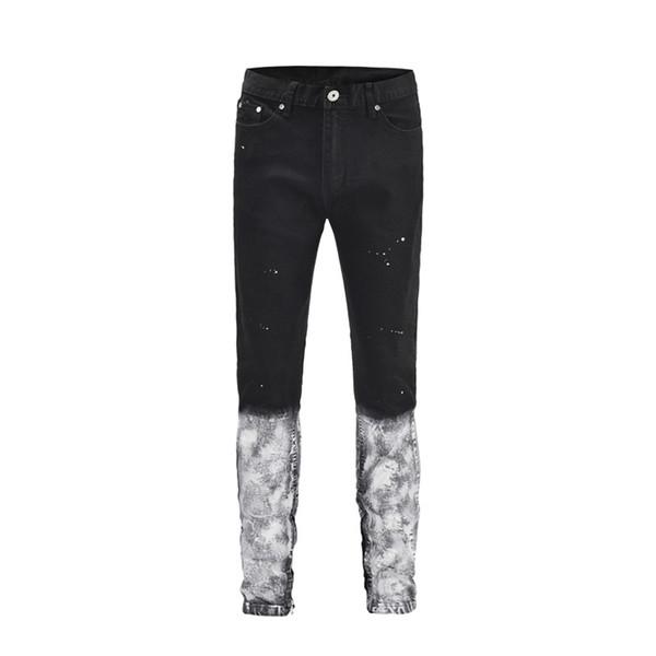 Mens Tinta Pintada Jeans Moda Skinny Tornozelo Zíperes Jeans Masculinos Hip Hop Marca Jeans Streetwear