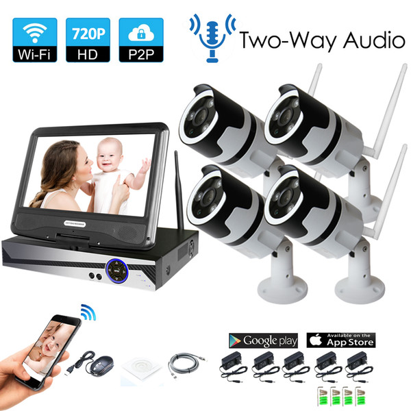 4CH two way audio talK HD Wireless NVR Kit P2P 720P Indoor Outdoor IR Night Vision Security 1.0MP IP Camera WIFI CCTV System