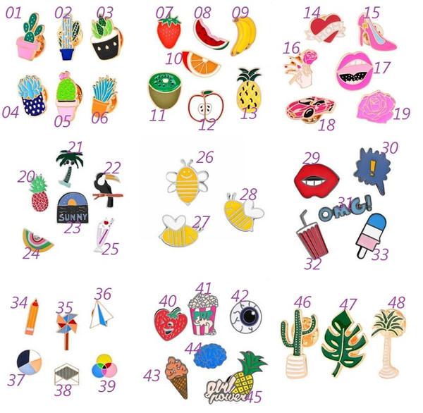 Emaille bunte Anstecknadeln Broschen Rucksack Shirt Kragen Dekor Abzeichen für Jeans Broschen Vogel Blume Baum Fruit Bee Eiscreme Bleistift