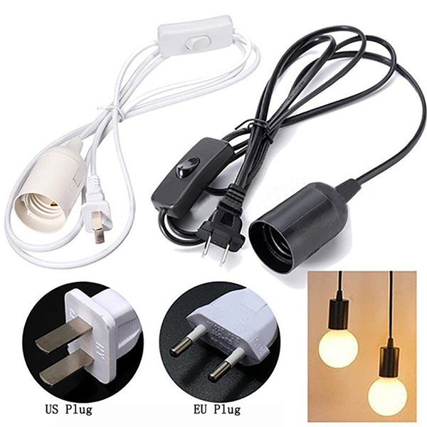 6ft E27 lampadina del supporto dello zoccolo Hanging pendente cavo cavo con interruttore On / Off