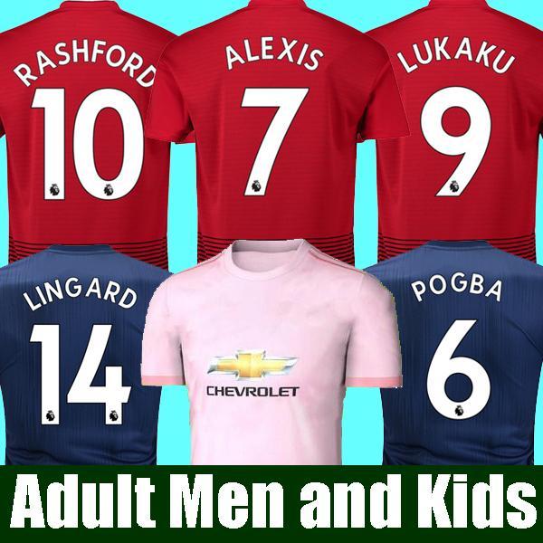 18 19 FC Manchester United Soccer Jersey 2019 Man Jersey UTD POGBA LUKAKU RASHFORD ALEXIS Football Shirt Kit adult MEN and KIDS set Uniform