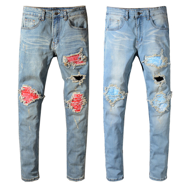 Balmain New Fashion Mens Designer Brand Black Jeans Skinny Ripped Destroyed Stretch Slim Fit Hop Hop Pants With Holes For Men