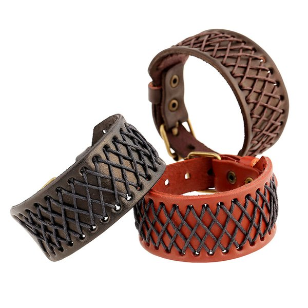 Simple Design Genuine Leather rope woven Bracelets & Bangles for man Pin buckle Charm 3 cm wide Wristband Jewelry