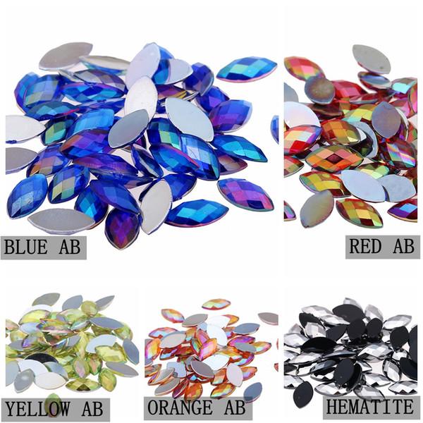 top popular 1000pcs 4x8mm Acrylic Horse Eye Earth Facets Nails Decoration AB Colors Non Fix Stones Flatback Hot 2019