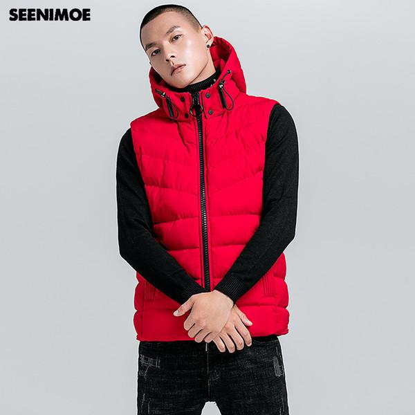 Seenimoe Vest Coat Men 2018 Winter Warm Sleeveless Jacket Men Winter Waistcoat Mens Solid Color Casual Coats Mens Plus Size Vest