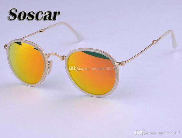 Soscar Round Folding Sunglasses 3517 Fashion Women Portable Glass Flash Mirror Lenses Brand Design Summer Sunglass with Folding Leather Box