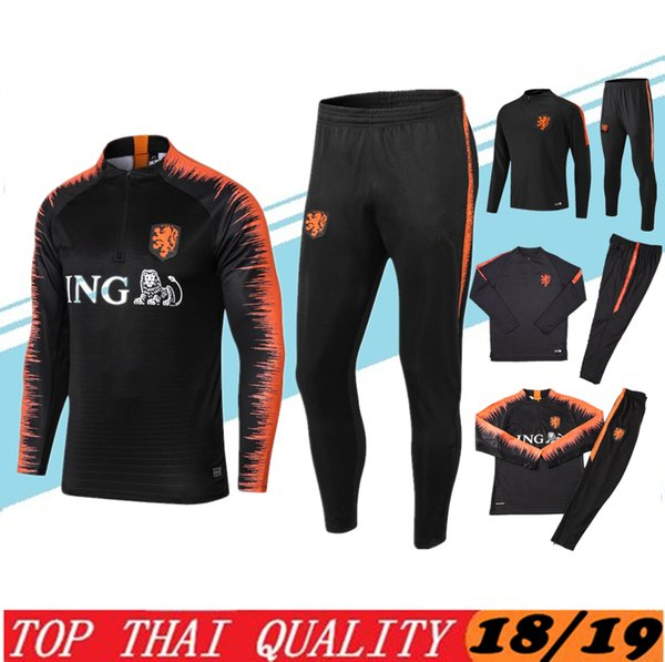 Top quality SNEIJDER Soccer Tracksuit 2018 2019 Netherlands tracksuit kit V.PERSIE Training Suit MEMPHIS ROBBEN Football Long pant Track