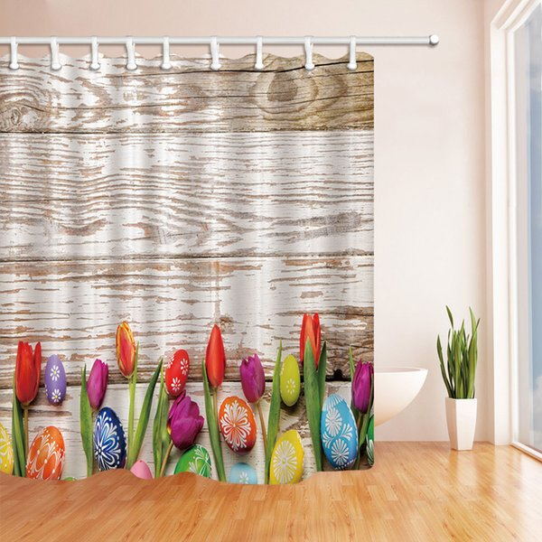 Flower Color Egg on the Wooden Fashion Shower Curtain 70 x 70 In Mildew Resistant Waterproof Polyester Bathroom Accessories Hanging Curtains
