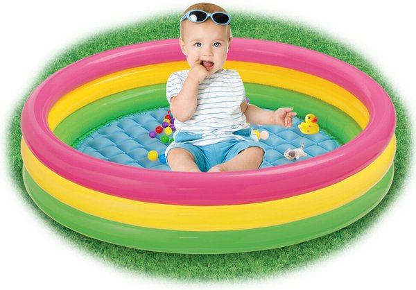 Rainbow Inflatable Pool for Kids Infants Baby 3 Sizes Swimming Pool Float Summer Water Toys Bathing Outdoor Durable