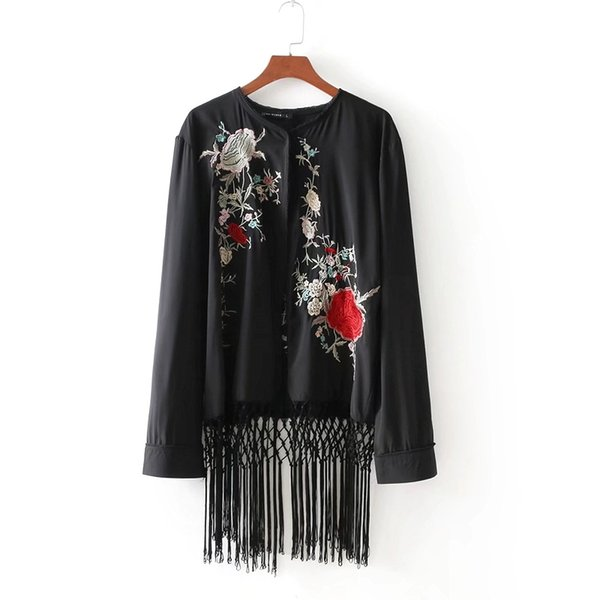 2018 women vintage floral embroidery national coat elegant tassel patchwork cape ladies kimono style cardigan jacket tops CT060 L18100904