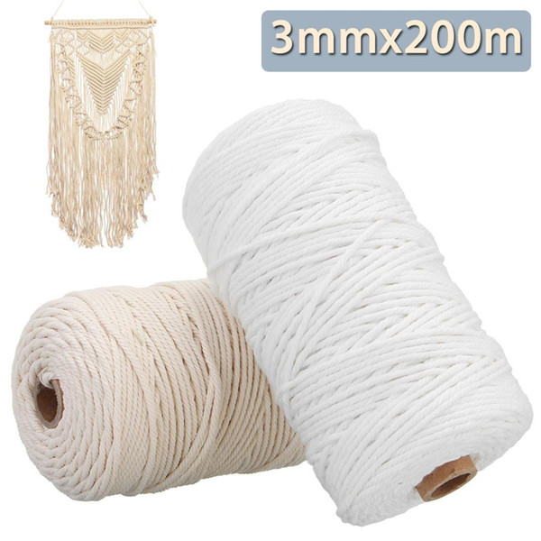 top popular New Cotton Cord Rope For Diy Home Textile Craft Bohemian Macrame BOHO String Handmade Decorative Accessories 3mm x 200m 2021