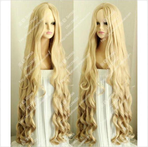 Blonde lange schöne Schraube Wellenförmige Cosplay Perücken Haar 100 CM