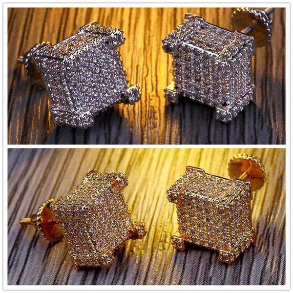 Vite indietro CZ Orecchini Stud Design del marchio di lusso Luxury Hiphop Gioielli Oro argento Zircone trafitto Ear Stud Jewellry J146