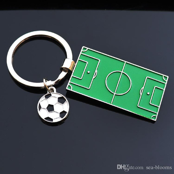 Football Field Keychain World Cup Soccer Fans Souvenir Gift Ball Metal Keychain Key Chains Ring Fans Souvenir Accessory G763R