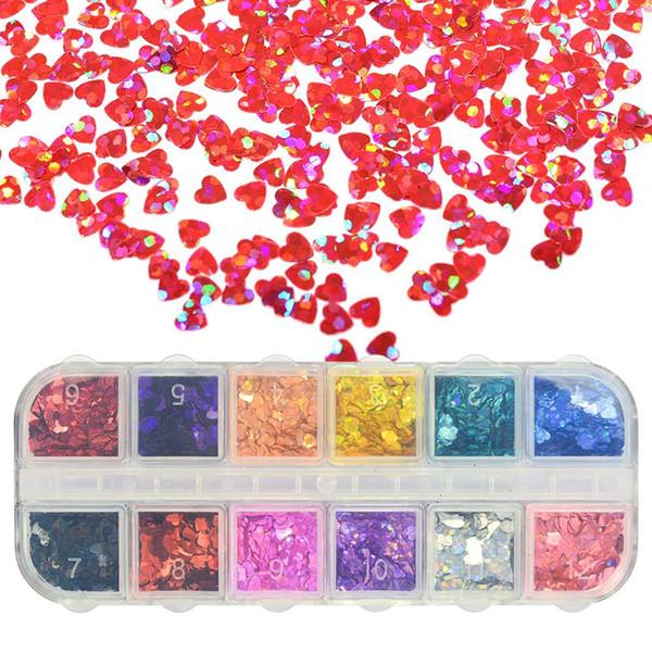 1 Case Heart Shaped Nail Glitter Sparkly Sequins Laser 3D Nail Art Decorations Paillette Flakes Tips 12 Color DIY Manicure SA469