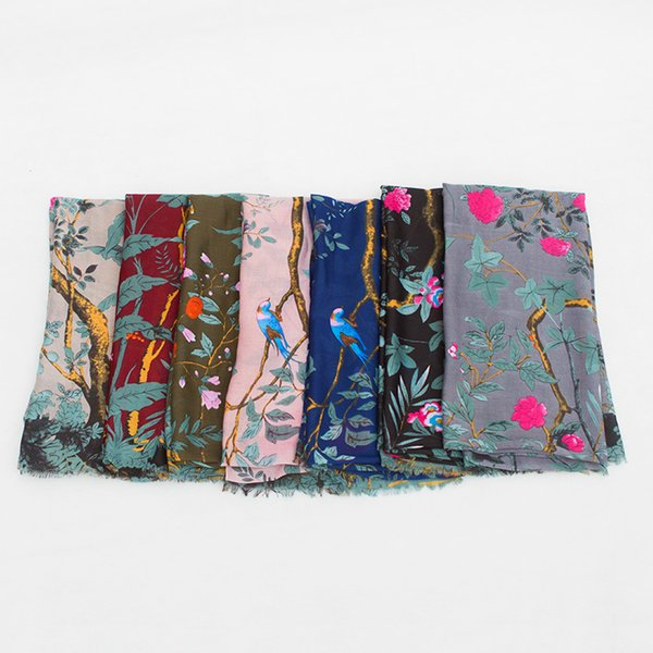 90*180cm 7 Colors Forest Bird Pattern Polyster Designer Scarf Women Hijab Shawls Pashmina Wrap Scarf Table Blanket Beach Towel