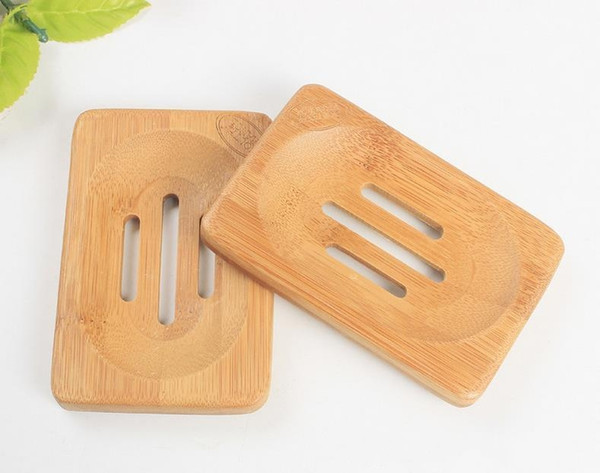 100PCS Natural Bamboo Wooden Soap Dish Wooden Soap Tray Holder Storage Soap Rack Plate Box Container for Bath Shower Bathroom CL-01
