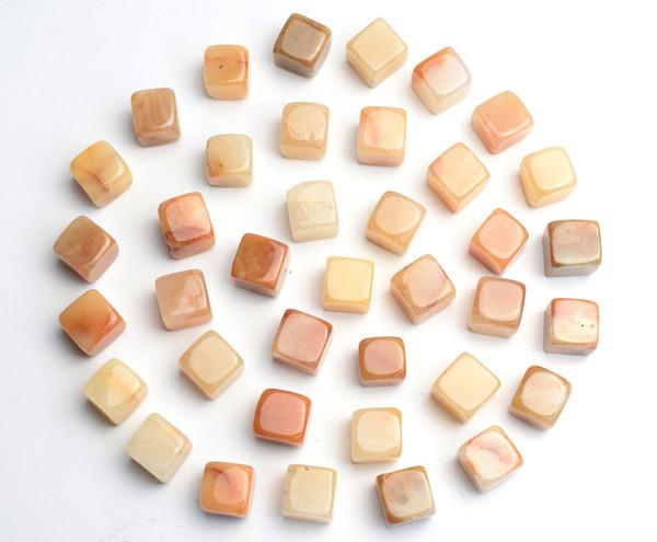 1000g Granel Natural Tumbled Amarelo Jade Esculpido Cristal Cubo Reiki Cura Semi-preciosas Pedras Polidas para Feng Shui Decoração
