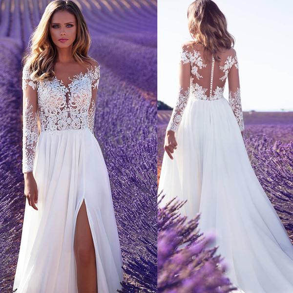 top popular 2019 High Split Lace Chiffon Wedding Dresses Sheath Sheer Illusion Bridal Formal Gown Summer Beach Long Sleeve Milla Nova Wedding Dress 2019
