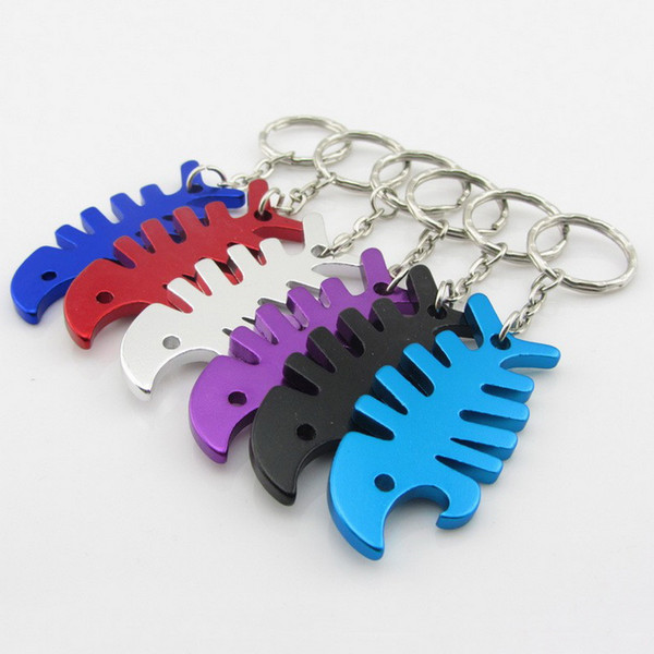 500pcs Key Ring Key Chain Alloy Cool Fish Bone Beer Bottle Opener Keychain Accessories Unique Gifts for Christmas free shipping