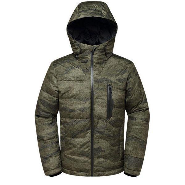 Hooded Camouflage Down Jacket Winter Snowboard Thermal Waterproof Windbreaker Coat Skiing Fishing Climbing Hiking Mens Overcoat