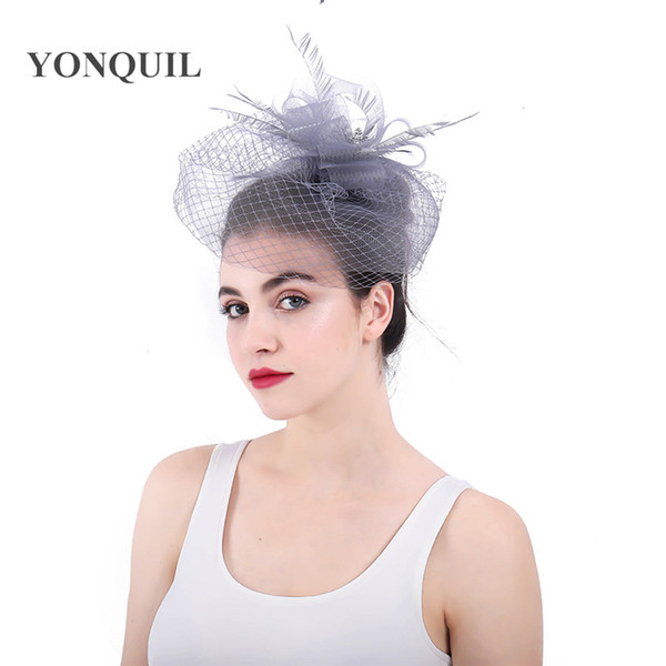 Multi-colors Beautiful crinoline fascinator feather headwear bridal hats veils cover face wedding headpiece occasion hair accessoires SYF323