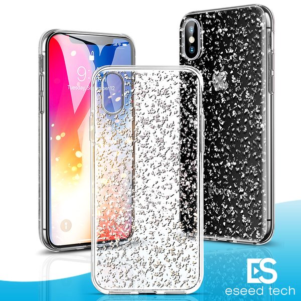 For Samsung galaxy S9 iPhone X XS MAX Plus luxury Case with 3D Gold Sparkle Glitter on Hard PC Back Soft TPU Cases with Bling Shining Design