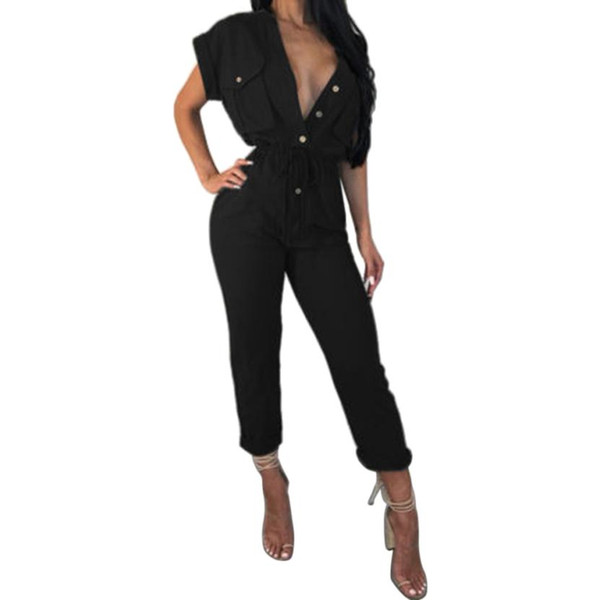 WOMAIL Jumpsuits For Women 2018 Elegant Sexy Deep V-Neck Solid Button Women Jumpsuit Romper Party Skinny Playsuits 18Aug9