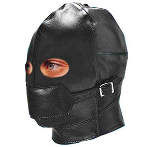 Leather Open Eyes Full Head Covered Erotic Fetish BDSM Slave Cosplay Bondage Restraints Hooded Mask Couple Toys Sex Products