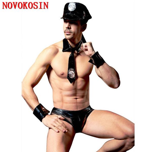4 Peças de Moda M-XL 2018 Homens Da Polícia Lingerie De Couro Falso Sexy Traje Halloween América América Policemen Tie Calcinha Hat Set S19706