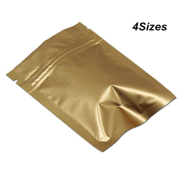 100 pezzi oro multi formati alluminio alluminio valvola zip cerniera chiusura lampo imballaggio borse foglio di mylar risigillabile foglio di stoccaggio alimentare sacchetti di imballaggio