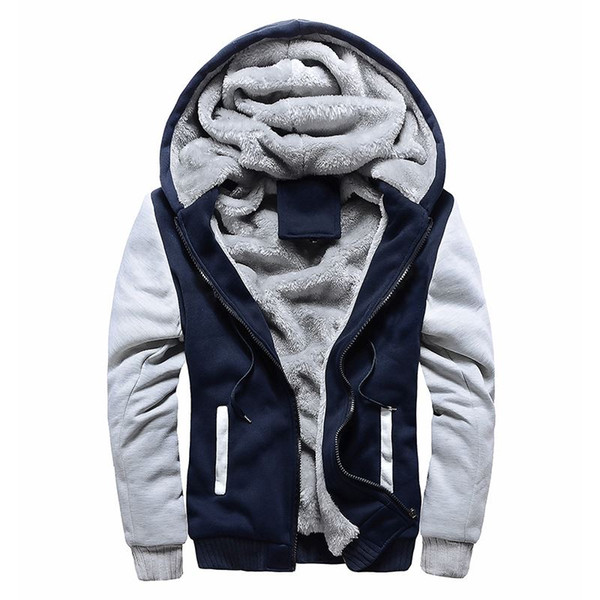 Winter Sweatshirt Men Hoodie Male Coat Hooded Brand Casual Zipper Thicken Velvet moleton masc Man Tracksuit