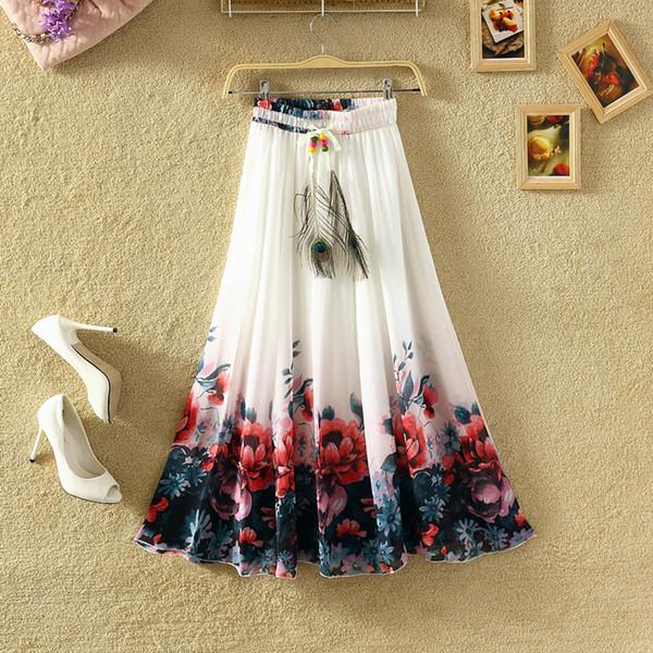 Simplee Tassel floral print long skirt women Button tie up beach maxi skirt 2018 Casual streetwear boho summer skirt female