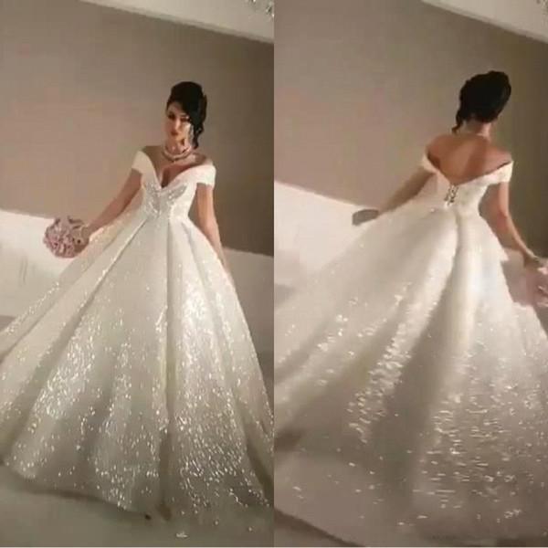 Arabisch 2019 Bling A Line Brautkleider Off-Shoulder Sparkly Kapelle Zug Glitter Geklebt Spitze Lace-up Sexy Hochzeit Brautkleider BA8960
