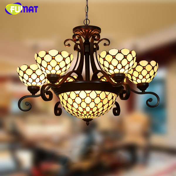 FUMAT Stained Glass Chandlier European-style Classic Light Living Room Hotel Glass Art Light Fixtures Curtain Beads Chandeliers