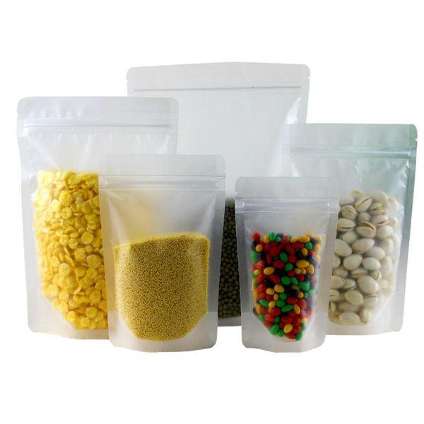 Fechado de Plástico Transparente Zip Lock Saco de Embalagem Stand Up Pouch Resealable Doypack Zipper Food Saco De Embalagem De Armazenamento De Café