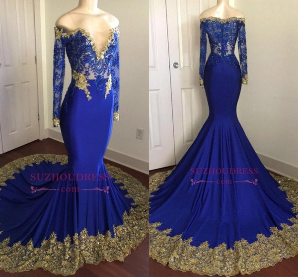 Sparkly Royal Blue Mermaid Sequins Prom Dresses 2018 Off Shoulders V Neck Long Sleeves Lace Beaded Evening Dresses With Gold Appliqued