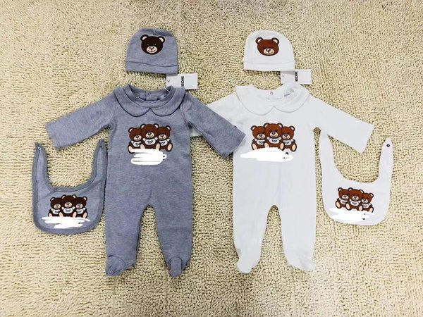 2018 New Fashion Cotton% Baby Boys Girls Pagliaccetto manica lunga Jump 3pcs set Playsuit Little Boy Girls Outfit Baby Pagliaccetti Vestiti