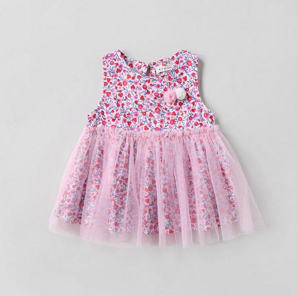 girls dress 2018 Ins summer new selling Korean style girl little flowers print sleeveless cute Puffy dress high quality cotton dress