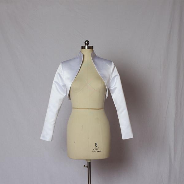 Elegant Satin Wedding Bridal Wraps Jackets For Bride Long Sleeves Custom Free Shipping Cheap Designer Open Back Wedding Bolero