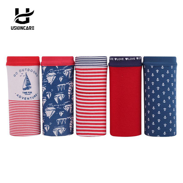 5 Pieces/lot Women Cotton Brief Underwear Cartoon Mid-waist Panties Anti-Bacterial Breathable Ladies Girl's underpants