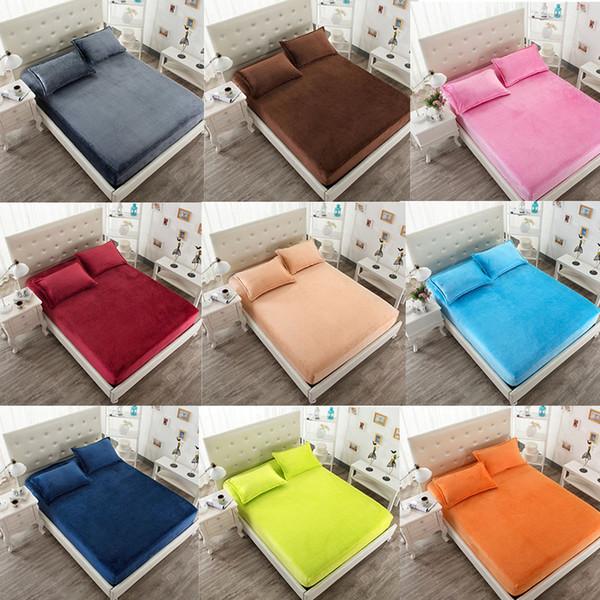 Velo de veludo de flanela quente 25cm Hight Twin / Full / Queen / King Size lençol de cama sólida cor sólida cinza rosa azulWineGreenOrangeRoxo