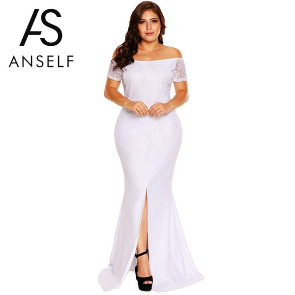 ANSELF XXXL Plus Size Dresses Women Off Shoulder Lace Dress Short Sleeves Split Hem Back Zipper EleMaxi Long Dress vestidos