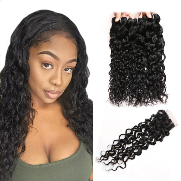 Brazilian Water Wave Human Hair Bundles With Closure Peruvian Wet and Wavy Hair 4 Bundles Malaysian Body Wave Deep Loose Hair Extensions