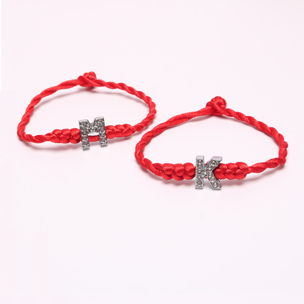 2pcs/lot Crystal Letters Charm Bracelet with Red Rope Chain A-S Lucky Bracelet Cord String Line Handmade Jewelry Unisex Gift