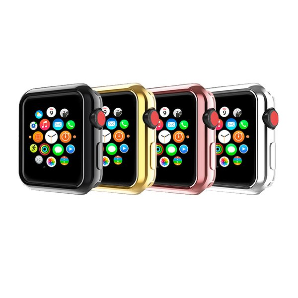 For Apple Watch Strap Series 1 2 3 Generat TPU Electroplate 4 Color With Box Watch Cases Breathable Smart Watch Cover Bracelet