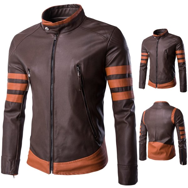 best selling Real man's leather jacket Overcoats Slim Fit motorcycle Jackets Stand Collar WOLVERINE Male PU Faux Leather Coats Waterproof Outwear