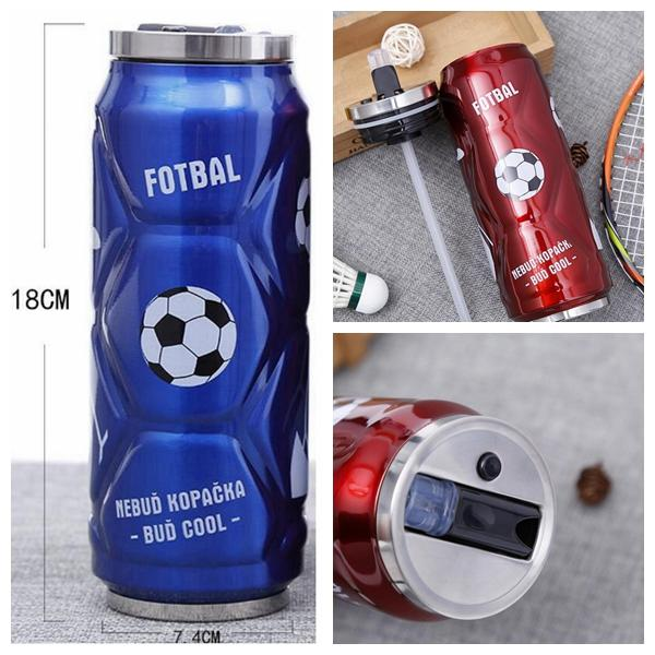 500ML Stainless Steel Football Cola Can Bottle Sport Vacuum Water Cup Insulated Mug With Pop-up Straw DDA748 Car Cups