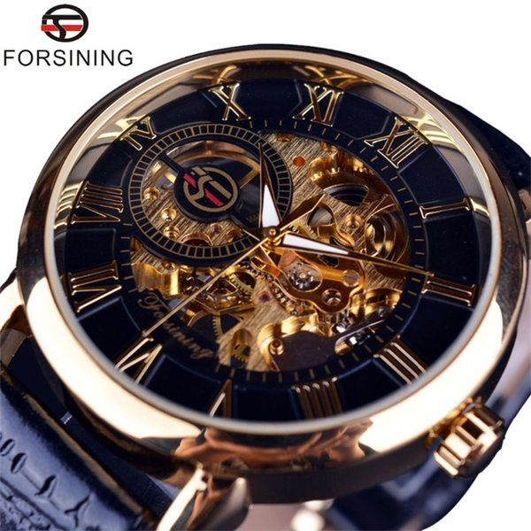Forsining Men Watches 3D Literal Design Roman Number Black Dial Luxury Mechanical Skeleton Watch Black Golden Top Brand Wristwatches Clock