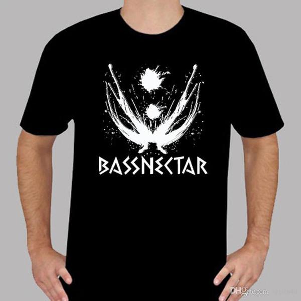 Camisas personalizadas Online Tripulação Pescoço Gráfico Novo Logotipo Bassnectar Música Eletrônica dos homens T-Shirt Preta Tamanho S para 3XL Manga Curta